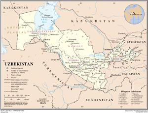 Ouzbekistan map